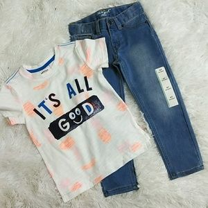 """Toddler's Skinny Jeans & """"It's All Good"""" T-Shirt"""